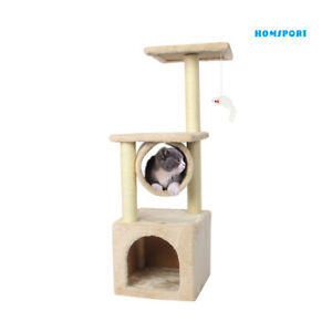 35'' Cat Tree Bed Furniture Scratching Tower Post Condo Kitten Play House Beige