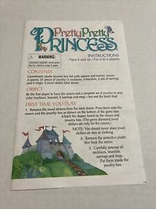 Pretty Pretty Princess Replacement Directions 1999 Hasbro Milton Bradley