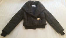 Iceberg Coat Jacket 42 Small Black Brown Stitching