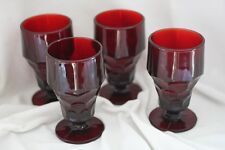 VINTAGE ANCHOR HOCKING ROYAL RUBY 10 OZ GOBLETS SET OF 4 ~MARKED