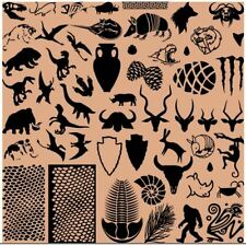 Limited Edition nail art stamping plate acrylic 9.5cm Ancient Animals Snakeskin