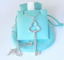 """Tiffany & Co Silver Large Trefoil Key Charm Pendant 20"""" Oval Link Chain Necklace"""
