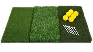 Orlimar Golf Triple Surface Hitting Mat Tee Box Fairway Rough 6 Tees & Balls NEW