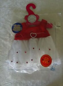 BUILD-A-BEAR red & white Heart Dress FINE CONDITION