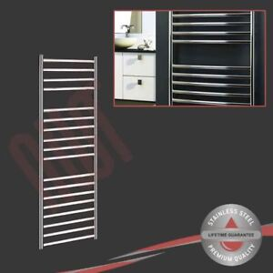 500mm(w) x 1400mm(h) Polished Stainless Steel Towel Rail Radiator 1823 BTUs