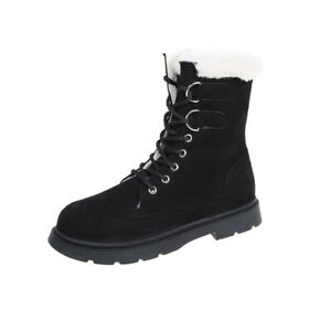 Winter Women's High Top Thick Lining Shoes Faux Suede Lace-Up Snow Ankle Booties