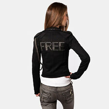 FREE FOR HUMANITY studded cotton biker jacket giubbotto felpa borchie donna M S