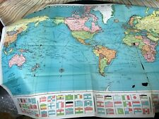 "Colorprint World Map Mercator Projection American Map Company #9455 50""x38"""