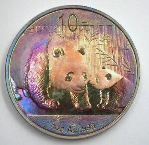 Scarce Rare Genuine 2011 China Pure Silver Panda 10 Yuan Deep Rainbow Toning UNC