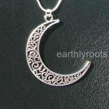Detailed Crescent Moon Pendant with 20inch Sterling Silver snake chain -stunning