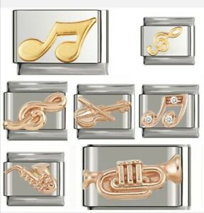 MUSIC MY PASSION ROSE+ GOLD Italian Charms fit 9mm Nomination/gift pouch. RG100