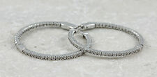 925 Sterling Silver Cubic Zirconia Hoop Earrings, 6.7g (NEW) #00003803