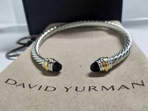 CLASSIC DAVID YURMAN WOMEN'S CABLE BRACELET WITH BLACK ONYX 585 14K GOLD 5MM NEW