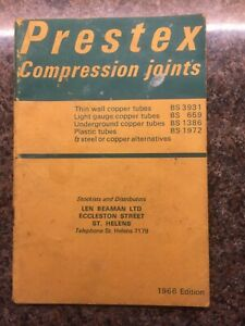 Prestex Compression Joints 1966 Edition (Stockist Len Beaman Ltd Eccleston Stree