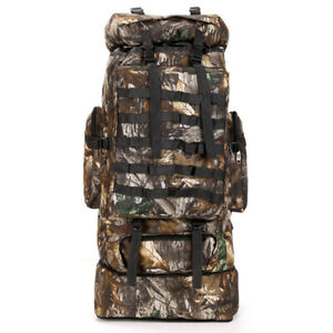 100L Men Military Tactical Backpack Rucksack Molle Hiking Camping Bag Camouflage