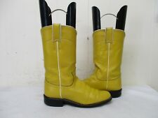 JUSTIN Yellow Leather Roper Cowboy Boots Womens Size 4 B Style L3083 USA