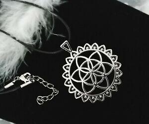 Collier pendentif Fleur de vie 47x40mm  sur cordon ciré noir/yoga/bijou