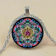 Cabochon Glass Pendant Chain Necklace Vintage Om Mandala Photo Tibet Silver
