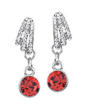 Platinum Plated Red Silver Crystal Drop Earrings MADE WITH SWAROVSKI ELEMENTS
