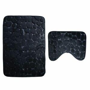 Bathroom Mat Set Rugs Flannel Anti Slip Shower Carpets Home Toilet Floor Cover