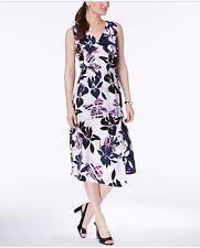 Alfani Women's Faux-Wrap Midi Dress, Purple Tropical Toss, Size 14
