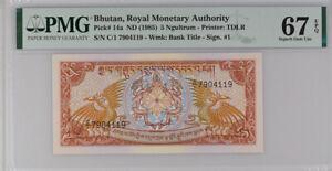Bhutan 5 Ngultrum ND 1985 P 14 a C/1 Superb GEM UNC PMG 67 EPQ High