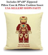 """18x18 18"""" IRON MAN IRON-MAN LEGO IRONMAN Zippered Throw Pillow Cushion Marvel DC"""