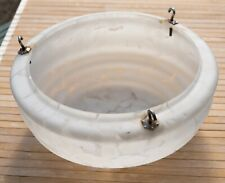 """1920 Antique 12"""" Moonstone Hanging Glass Light Bowl Shade with Chains & Fittings"""