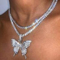 Gorgeous Butterfly Crystal Rhinestone Pendant Necklace Chain Choker Women Gift