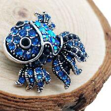Diamond Goldfish Brooch Fashion Women Jewelry Party Alloy Blue Brooch Pin