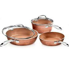 Gotham Steel 5 Piece Premium Hammered Ceramic Copper Non Stick Cookware Set NEW