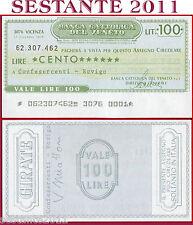 BANCA CATTOLICA DEL VENETO Lire 100 17.12. 1976 CONFESERCENTI ROVIGO B188
