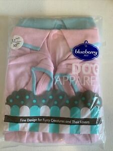 Blueberry Pet Dog Apparel Pink & Blue Polo Shirts Small 10Inch Dog