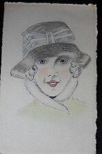 DESSIN ORIGINAL PORTRAIT ART NOUVEAU VINTAGE FORMAT CARTE POSTALE UNIQUE 1916