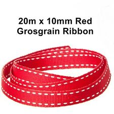 "20M X 10MM 3/8"" RED SADDLE STITCH GROSGRAIN RIBBON WEDDING CHRISTMAS BULK"