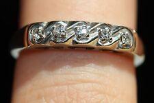 Antique Handmade Natural Round Diamond 14K White Gold Wedding Band/Vintage Ring