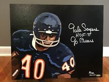 1/1 Gale Sayers Signed 16x20 Original Painting Chicago Bears COA 1 of 1!