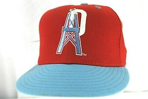 Houston Oilers Red/Blue Baseball Cap Adjustable 6 3/4 100% Wool