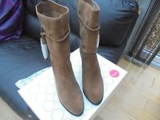 Ladies tan suede/ leather calf-length boots by Boden size  (41), brand new