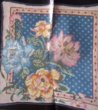 ROSES floral pink blue NEEDLEPOINT picture or PILLOW KIT flower unsealed TULIPS