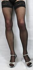 Extra Large Black 15 Denier Satin Sheen Lace Top Hold up Stockings High Quality