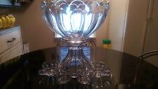 Antique Hiesey 20 Cup Punch Bowl On Matching Base