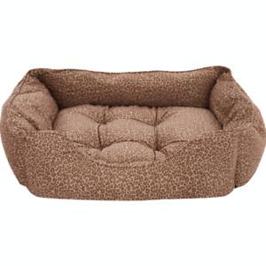 ROSEWOOD 40 Winks Brown Leopard Print Dog Sleeper Pet Bed - 85cm X 55cm