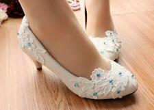 Decolté decolte scarpe donna ballerina bianco blu pizzo sposa 3.5, 4.5  9346