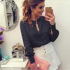 New womens chiffon Polka Dots blouses OL work wear long sleeve shirts slim tops^