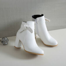 Solid Women Ankle Boots Leather Bow Knot Block Heels Side Zip Fashion Shoes NEW