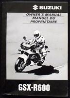 SUZUKI GSX-R600 MOTORCYCLE HANDBOOK/MANUAL SEPT 1996 #99011-34E50-28B (USA)