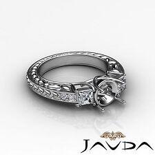3 Stone Diamond Wedding Vintage Ring Princess Round Mount 14k White Gold 0.4Ct