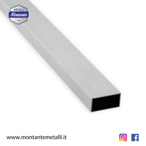 Profilo Tubo Rettangolare in Alluminio Da 20 a 100 mm in Diverse Dimensioni