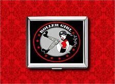 ROLLER DERBY PIN UP GIRL SKATE STARS METAL WALLET CARD CIGARETTE ID IPOD CASE